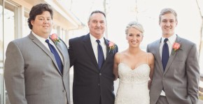 Aaron (L) with dad, Ricky, sister Whitney, and brother Carter at Whitney's wedding.